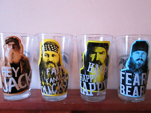 Set of 4, Duck Dynasty 'Duck Commander' collectable glasses.