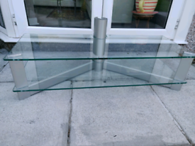 Silver Tempered Glass TV Stand