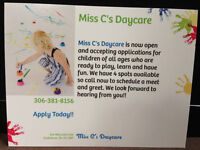 4 spots available at Miss C's Daycare..Call Today!!