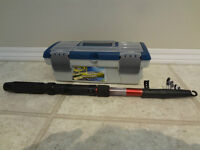 $25 - NEW Telescopic Fishing Rod &Tackle box. Great gift for Kid