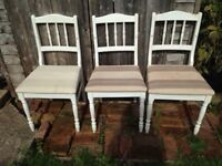 4 shabby chic wooden chairs