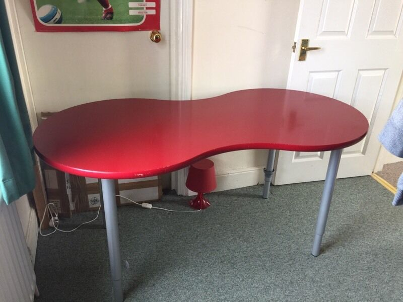 Ikea Desk Red Kidney Shaped With Adjule Legs