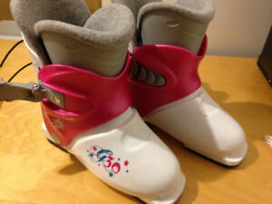 ski boots, children's, kid's, pink