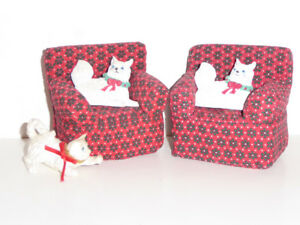 "CUTE CHRISTMAS 2 ""CATS IN CHAIRS"" ORNAMENTS - MINT"