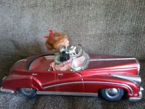 Vintage Tin Bently car,with tin figures,battery operated,Unique