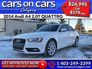 2014 Audi A4 2.0T QUATTRO w/Heated Leather, Sunroof, BlueTooth $