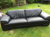 Black leather 4 seater sofa from DFS