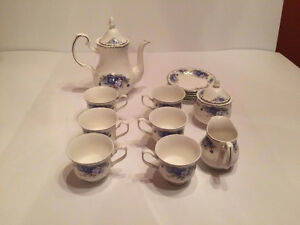 Rose Blue Bone china Tea set.