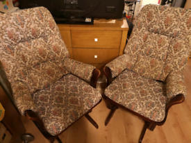 Pair of dutailier glider motion rocking chairs