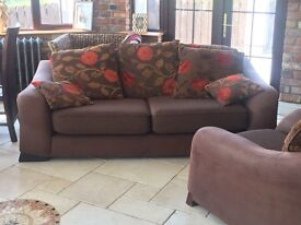 3 seater plus 1 brown and orange sofa suite - buffalo hide