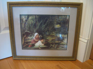 TOUCHING OLD VINTAGE DOUBLE-MATTED FRAMED PRINT