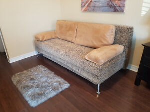 New price! 1 of a kind custom-made sofa-queen bed with storage.
