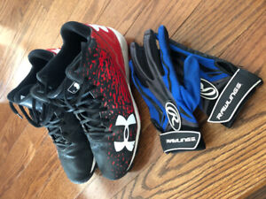 Kids Baseball cleats and batting gloves.