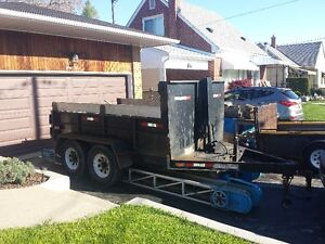 2007 JDJ 6 ton front mount dump trailer with ramps, brakes