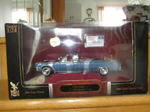 auto collection  x 100  kennedy car lincoln 1961 24 k  metal