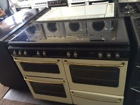 Black & cream new home 110cm gas cooker grill & double oven good condition with guarantee