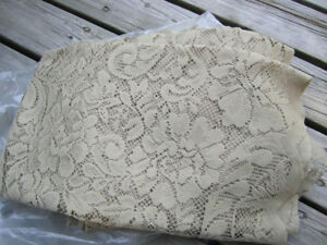 floral lace fabric , dark beige/sand colour various end cuts