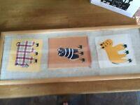 Handmade children's fabric picture framed