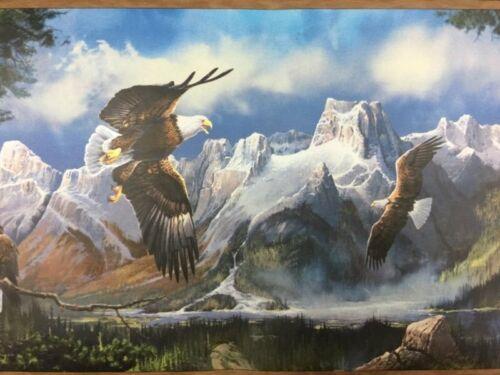 Wallpaper Border Dado Bald Eagle Soar Fly over Mountains & Forests Wall Decor