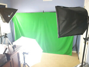 Photography Studio Complete Kit w Backdrops Soft Boxes Umbrellas