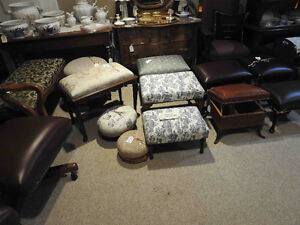Group 1: variety of antique footstools,ottomans, benches