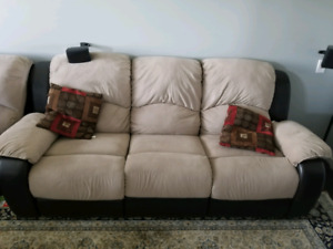 Three piece recliner sofas with pillows 1200 OBO. NEED GONE ASAP