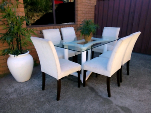 Modern Glass & Solid Wood Dining Table (Custom Made) Rosemeadow Campbelltown Area Preview