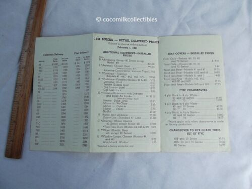 1941 Buick Salesman Retail Delivered Price Pamphlet Cars Options Other Equip