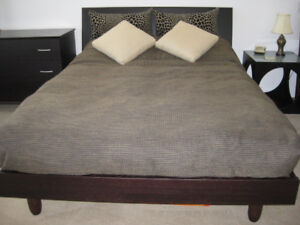 BEAUTIFUL MODERN DBL. PLATFORM BED, MATTRESS & DRESSER