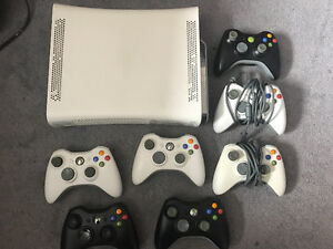 Xbox 360 CONSOLE, 7 Controllers, Xbox Live Wireless Headset.