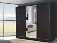 Brand New 250cm Wide 3 Door Sliding Mirrored Wardrobe in Black, White, Walnut, Wenge with Drawers