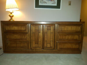 Solid Oak Dresser Set (2 End Tables, 1 Dresser)