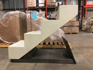 Store sneaker display stair unit with mirror