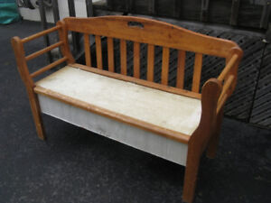Wood Hall seat with storage area under seat  - wood
