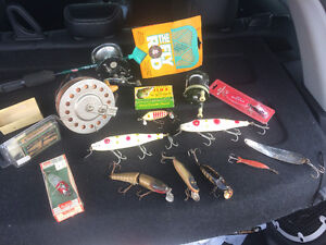 Antique fishing reels and lures