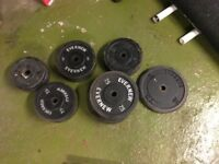 "Cast iron 1"" weight plates 107kg"