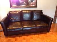 Dark brown leather couch and chair (structube)