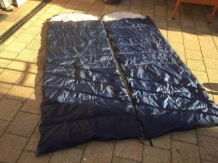2 Blue Nylon Zip Up Sleeping Bags