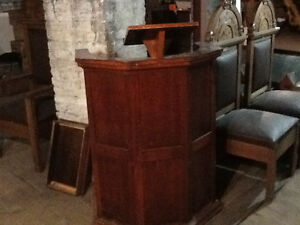 Antique Church Pulpit and Chairs