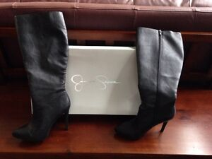 REDUCED!  Black Leather Boots Size 8