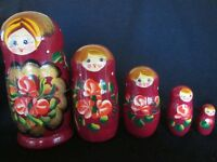 Matryoshka Russian Nesting Dolls-Wooden Babushka Hand Painted