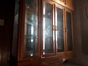 Solid Oak China Cabinet & Table