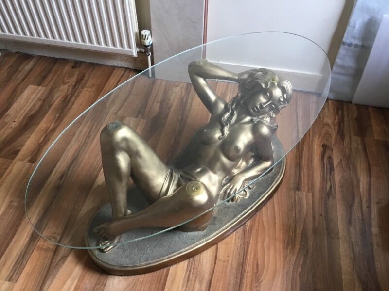 Coffee Table Glass With Woman Figure Bronze Gold In