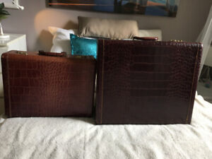 1950's Vintage Faux Alligator Luggage (2ps) 'Mcbride'