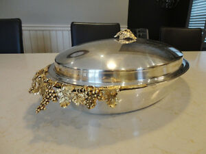 Vintage Silver Plated Oval Casserole Serving Dish w/Vine Handles