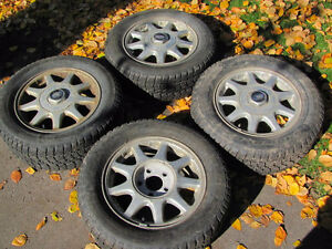 Set of 215/60R15 Tires, Studded, on Chev Rims; Very Good Tread Prince George British Columbia image 1