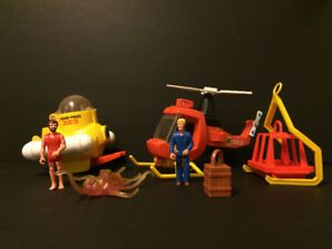 Vintage, Fisher Price, Adventure People, Submarine, Helicopter