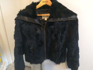 Genuine 100% Rabbit Fur Coat LIKE NEW! Size M