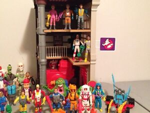 Vintage Ghostbusters Lot Figures and Firehouse