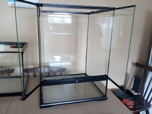 Assorted Glass Terrariums and Reptile Accessories